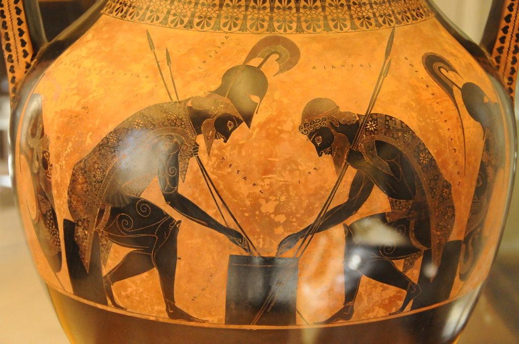 将棋を指すアキレウスとアイアス
