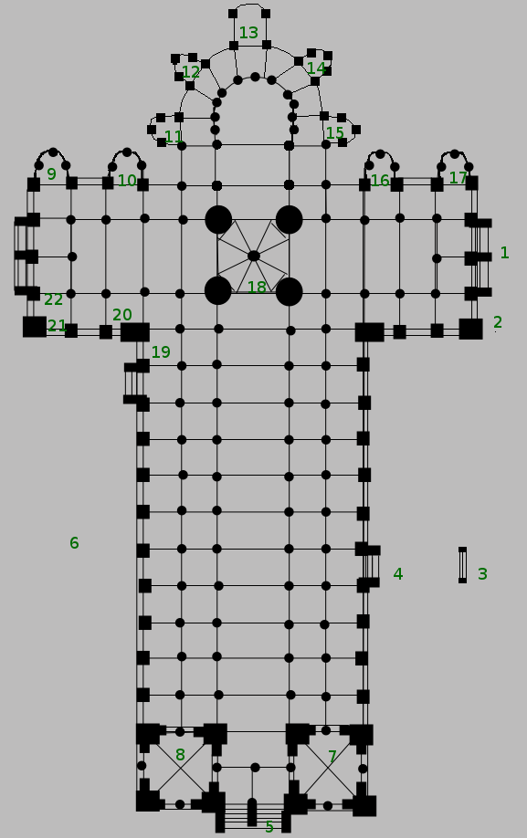 サン=セルナン大聖堂 平面図