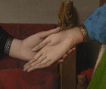 ヤン・ファン・エイ アルノルフィーニ夫妻の肖像 手