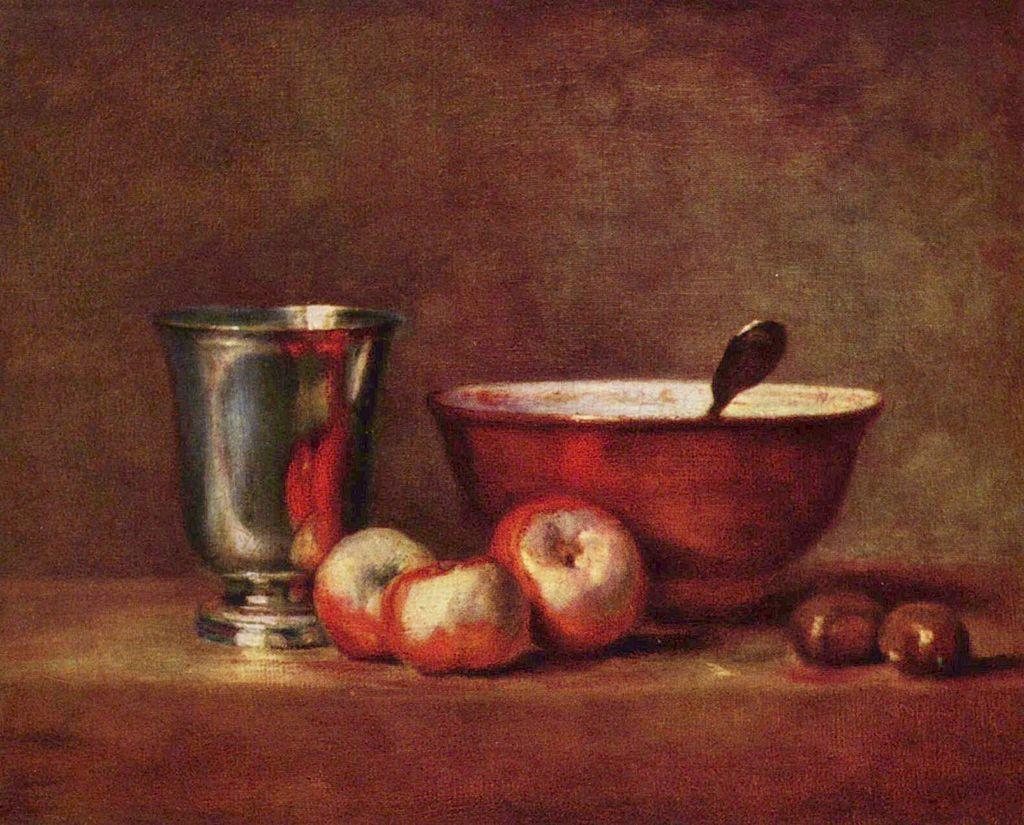 シャルダン 銀のゴブレットとりんご